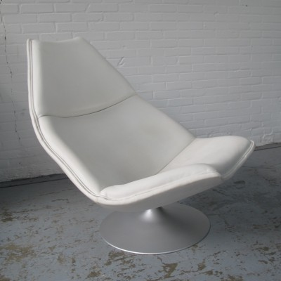 F511 white leather lounge chair by Geoffrey Harcourt for Artifort, 1970s