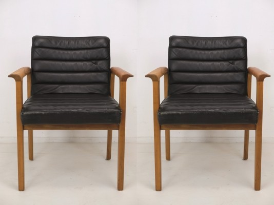 Set of Two Lübke Leather Armchairs, 1960s