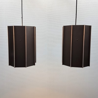 8 Large Steel & Perspex Raak B-1011 pendants, 1980s