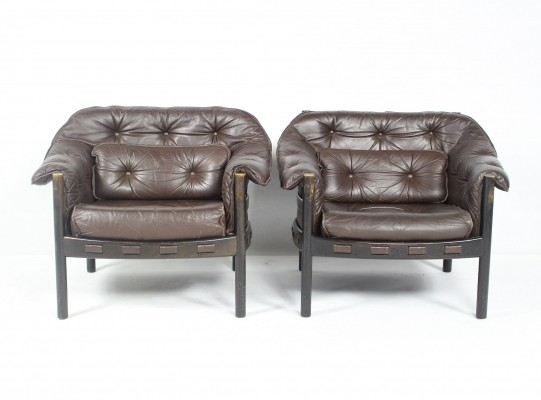Pair of Leather Armchairs by Arne Norell for Coja, 1960s
