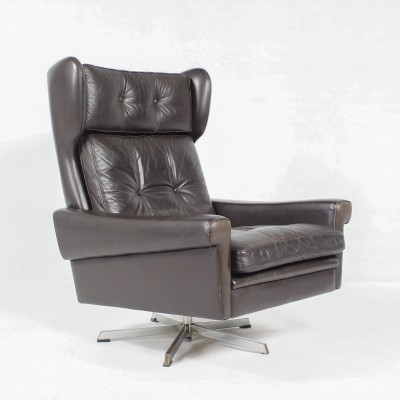 Danish Mid-Century Leather Swivel Lounge Chair by Svend Skipper,1960s