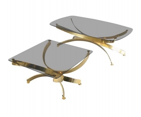 Pair of Coffee Tables with Curved Metal Frame & Glass Tabletop