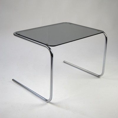 60s Side Table in Glass & Chrome Steel Tube