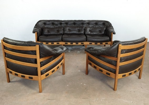 Seating group in teak & leather by Arne Norell