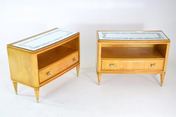 Pair of Italian Mid-Century Cherry Nightstands, 1950's