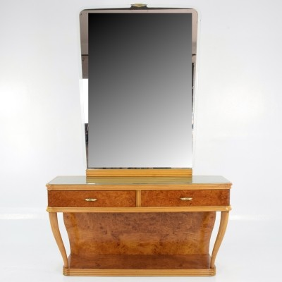 Italian Bird's-Eye Maple Vanity & Mirror, 1950s