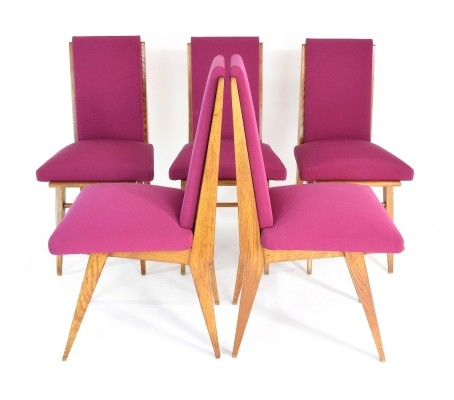 Set of 5 French Art Deco Dining Chairs