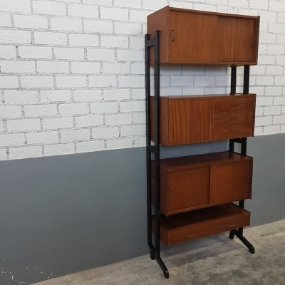 Modular teak wall unit by Simpla Lux, 1960s