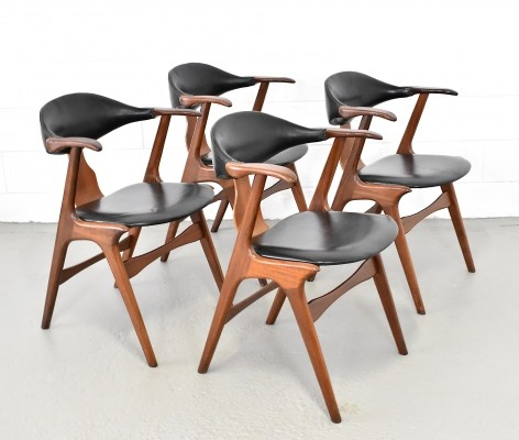 Set of 4 Cowhorn dining chairs by Louis van Teeffelen for AWA, 1950s
