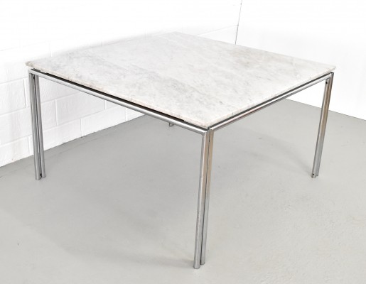 XXL square marble dining table with chrome steel base