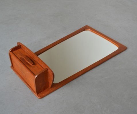 Mid-Century Modern mirror in teak with shelf & drawer by Kai Kristiansen, Denmark 1960s