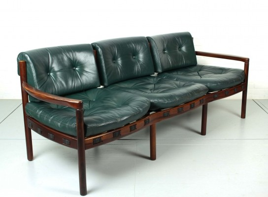 Three-seat Rosewood & Green Leather Sofa by Arne Norell for Coja, 1960s