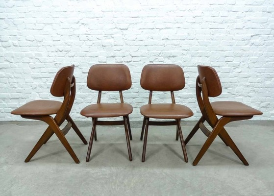 Teak & Caramel Leatherette Dining Chairs by Louis van Teeffelen for Webe