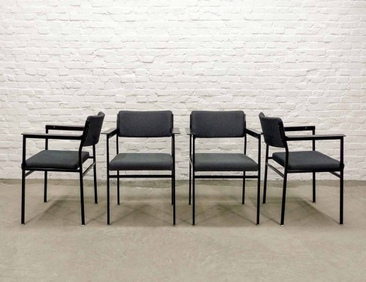 Set of Dutch Design Grey Bouclé & Steel Dining Chairs, 1960s