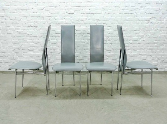 Set of Grey Leather Dining Chairs by Vegni & Gualtierotti for Fasem, Italy 1980s