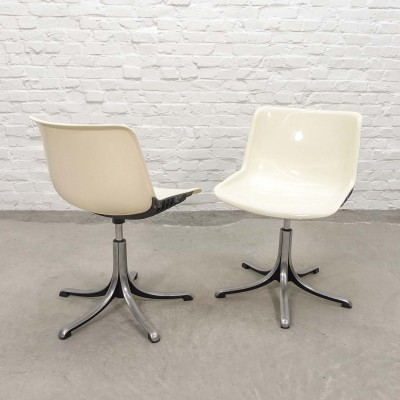 White 'Modus' Fiberglass & Aluminium Desk Chairs by Osvaldo Borsani for Tecno