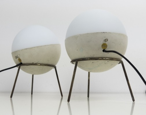 Set of 2 labeled tripod wall lamps for Stilnovo, 1950s