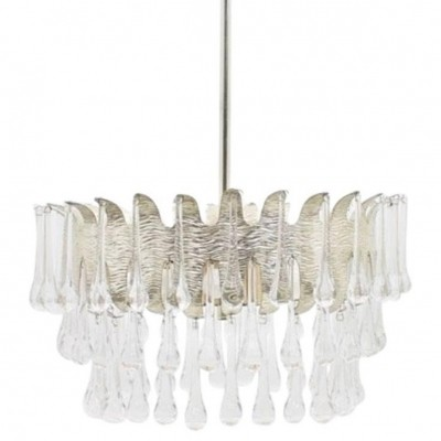 Silvered chandelier with glass drops by Ernst Palwa for Palwa Germany, 1960s
