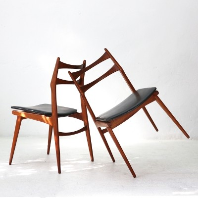 Pair of Boomerang Teak Dining Chairs by Habeo, 1960s