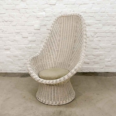 Mid-Century Dutch Design White Rattan High Back Lounge Chair, 1960s