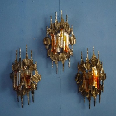 Set of 3 Brutalist Wall Lamps by Tom Ahlström & Hans Ehrlich, 1960s