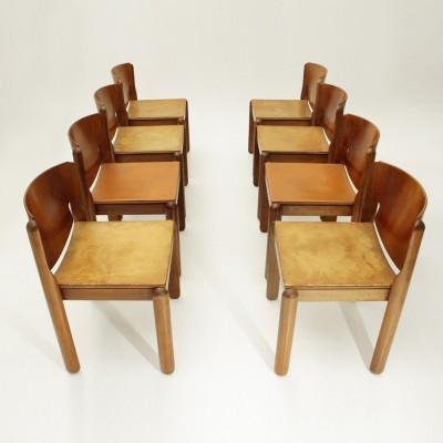 Set of 8 model 122 dinner chairs by Vico Magistretti for Cassina, 1960s