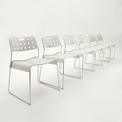 Set of 6 Omstak dinner chairs by Rodney Kinsman for Bieffeplast, 1970s