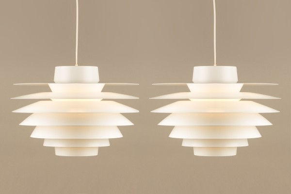 Pair of hanging lamps by Sven Middelboe for Nordisk Solar, 1970s