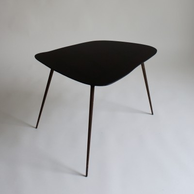 French Black Glass Side Table, 1950s