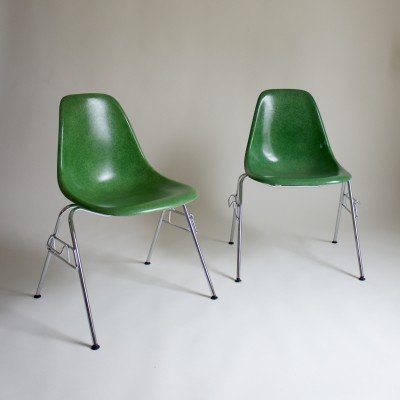 Two Eames DSS Fibreglass Chairs By Herman Miller