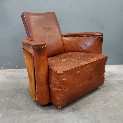 Cognac leather club lounge chair, 1930s