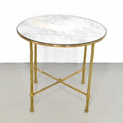 Maison Jansen distressed mirror Faux Bamboo brass Cocktail Table