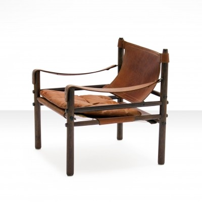 Arne Norell Sirocco Safari Chair in Cognac Leather, Sweden 1964
