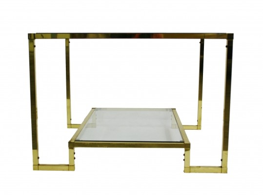 Brass two tier coffee table with glass, 1970s