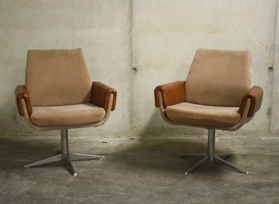 Pair of Vintage Skai & Chrome Swivel Chairs, Germany 1960's