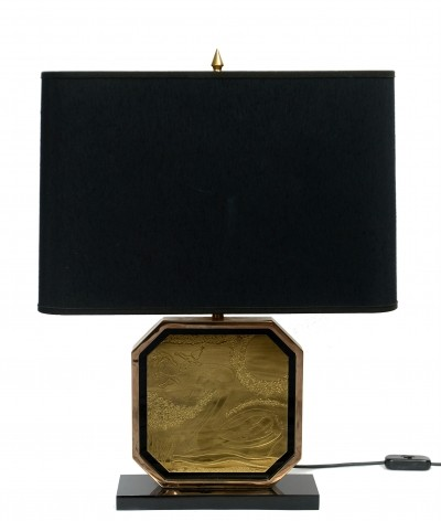 Brass etched 23kt gold plated table lamp by George Matthias
