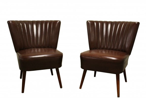 Pair of vintage cocktail lounge chairs with brown imitation leather, 1960s