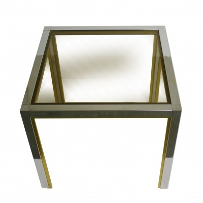 Brass & chrome side table or coffee table, 1970s