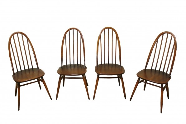Vintage highback spindle dining chairs by Ercol, 1960s