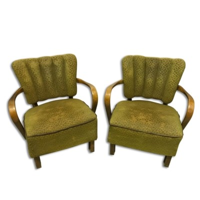 Pair of Jindřich Halabala arm chairs, 1950s