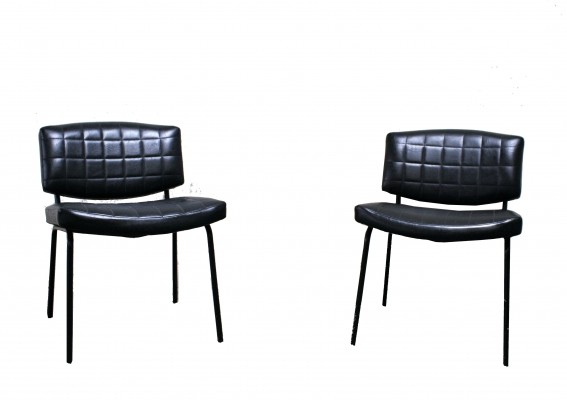 Pair Of Vintage Conseil Chairs In Black Leatherette And Metal by Pierre Guariche, 1960s