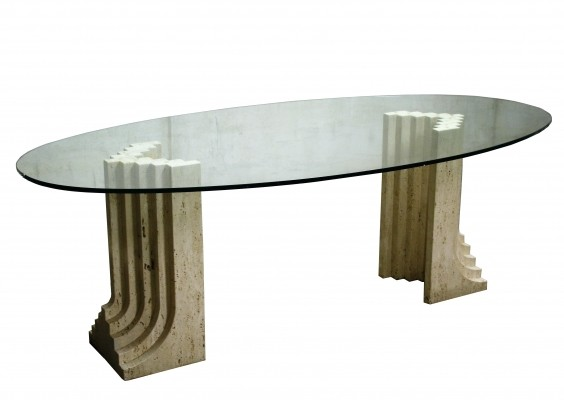 Vintage oval dining table by Carlo Scarpa, 1970s