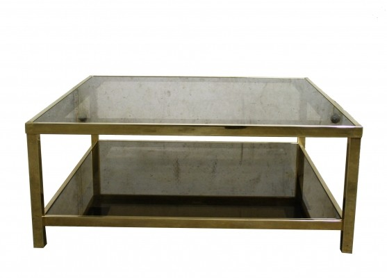 Vintage 23ct gold coffee table with smoked glass