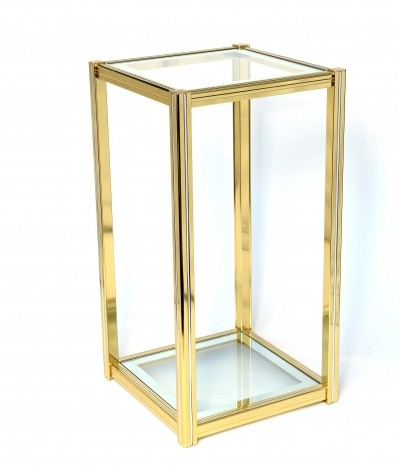 Brass & chrome mid century side table or display table