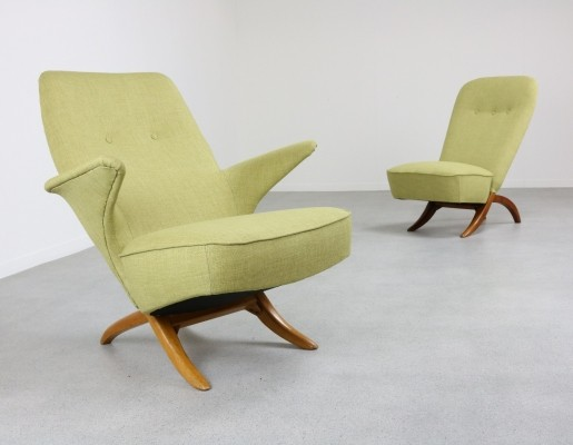 Pair of Pinguïn & Congo lounge chairs by Theo Ruth for Artifort, 1950s