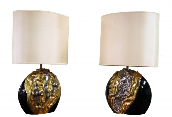 Pair of sculpted ceramic art table lamps by Georges Deliège