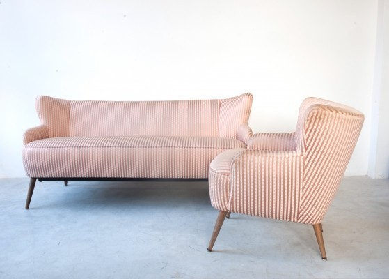 Original set of one sofa & one cocktail chair in original English silk, 1950s