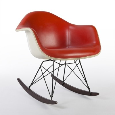 Original Herman Miller Red Eames Upholstered RAR Rocking Arm Chair