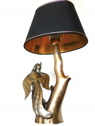 Willy Daro brass peacock table lamp, 1960s