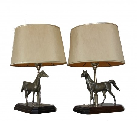 Pair of charming sculptural horse lamps, 1970s